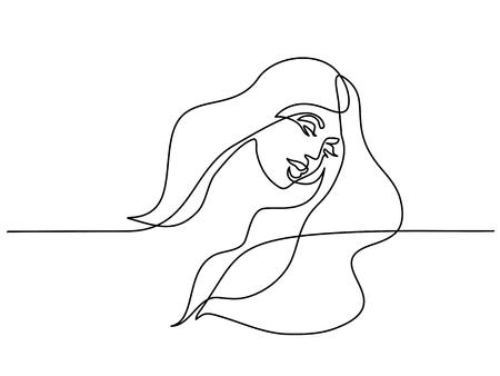 Continu één lijntekening. Abstract portret van vrij jonge vrouw met mooi haar. vector illustratie