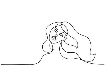 Continuous one line drawing. Abstract portrait of pretty young woman with beautiful hair. Vector illustration