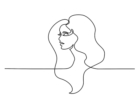 Continuous one line drawing. Abstract portrait of pretty young woman with beautiful hair. Vector illustration Фото со стока - 112875439