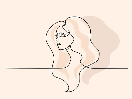 Continuous one line drawing. Abstract portrait of pretty young woman with beautiful hair. Vector soft color illustration