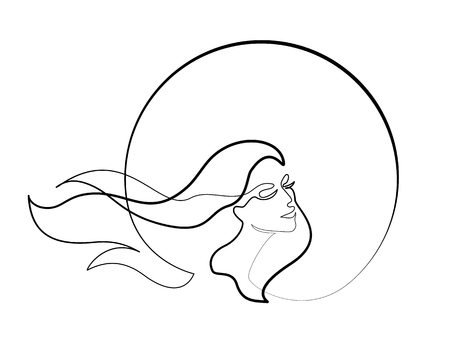 Continuous one different wide line drawing. Abstract portrait of pretty young woman with beautiful hair in round. Vector illustration