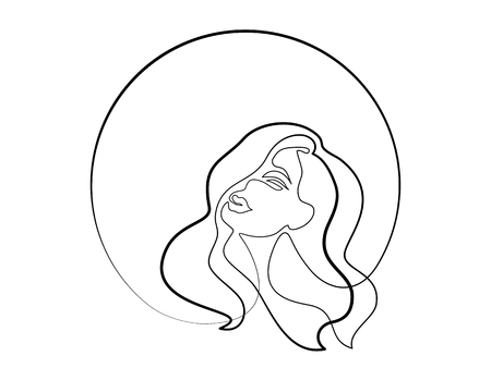 Continuous one different wide line drawing. Abstract portrait of pretty young woman with beautiful hair in round. Vector illustration Stock Vector - 112875497
