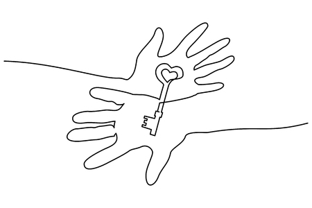 Continuous one line drawing. Abstract hands holding key. Vector illustration Çizim