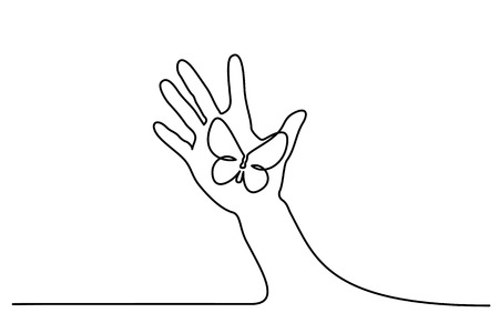 Continuous one line drawing. Abstract hand holding butterfly. Vector illustration Ilustração