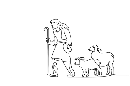Merry Christmas shepherd and sheeps. Continuous one line drawing. Vector illustration Stock Photo