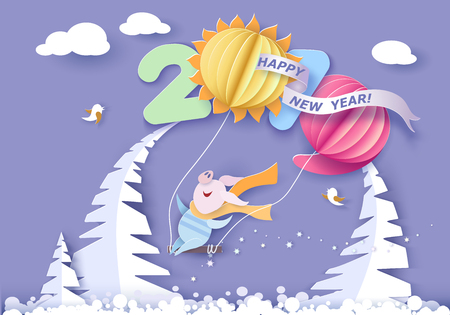 Color paper cut design and craft winter landscape with Happy pig swinging with air balloons shaped like digits. Holiday 2019 year and christmas design. Vector illustration. New Year card.