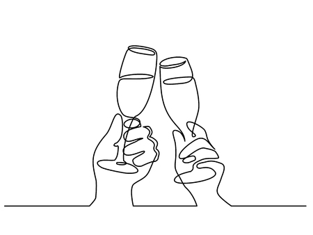 Continuous one line drawing. Hands cheering with glasses of champagne. Vector illustration Çizim