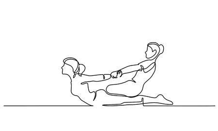 Dessin continu d'une ligne. Massage thaï pour homme dans un salon spa. Illustration vectorielle pour bannière, web, élément de conception, modèle, carte postale.