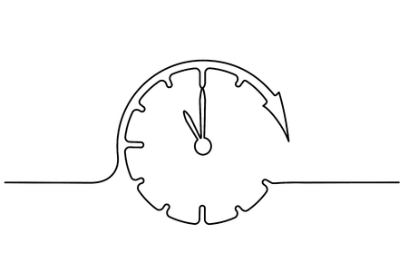 Continuous one line drawing. Clock with arrows icon on white background. Vector illustration for banner, web, design element, template, postcard. 免版税图像