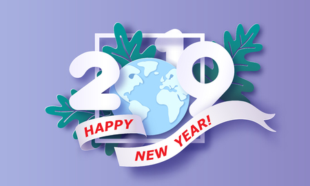 2019 New Year design card on purple background. Vector illustration. Paper cut and craft style. Illustration