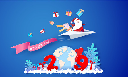 2019 New Year card design. Santa Claus and funny pig fluing on paper airplane over globe Earth on blue background. Vector paper cut art illustration for promotion banners, headers, posters, stickers