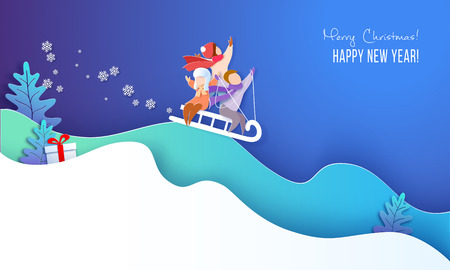 Merry Christmas design card with children sledding on big snow hills and blue sky background . Vector paper art illustration. Paper cut and craft style. Standard-Bild - 127142772