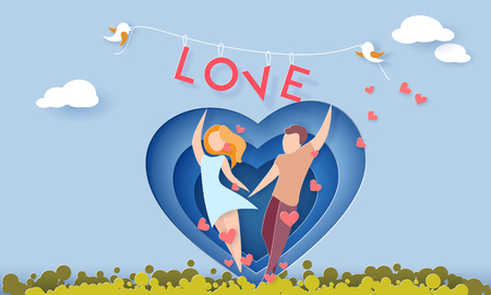 Valentines day card with couple holding hands in love running on green grass. Vector paper art illustration. Paper cut and craft style.
