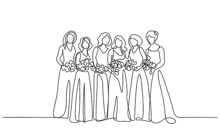 Continuous one line drawing. Friends of fiancee women standing with flowers. Vector illustration