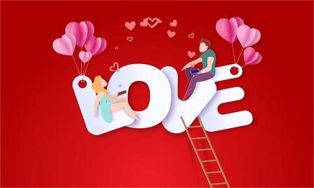 Valentinstagskarte mit Paaren, die auf großen Buchstaben LIEBE sitzen und rote Herzen mit ihren Smartphones senden. Vektorpapierkunstillustration. Scherenschnitt und Bastelstil.