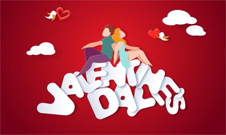 Valentinstagkarte mit Paaren, die auf großen Buchstaben mit rotem Hintergrund sitzen und Händchen halten. Vektorpapierkunstillustration. Scherenschnitt und Bastelstil.