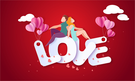 Valentines day card with couple sitting and holding hands on big letters with red background. Vector paper art illustration. Paper cut and craft style.