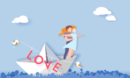 Valentines day card with couple hugging in love on paper boat in the sea. Vector paper art illustration. Paper cut and craft style.