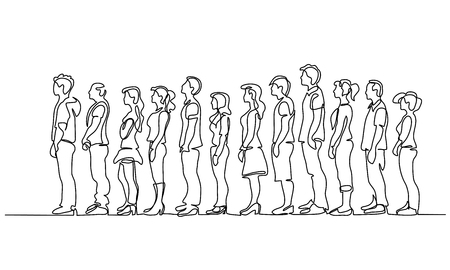 Dibujo continuo de una línea. Grupo de personas esperando en línea silueta aislado sobre fondo blanco. Ilustración vectorial
