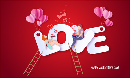 Valentines day card with couple sitting on big letters LOVE and sending red hearts with their smartphones. Vector paper art illustration. Paper cut and craft style. Illustration