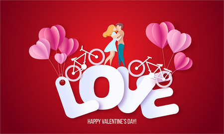 Valentines day card with couple standing hugging on big letters LOVE and their bicycles. Vector paper art illustration. Paper cut and craft style.
