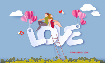 Valentines day card with couple sitting on big letters LOVE on blue sky background. Vector paper art illustration. Paper cut style.