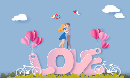 Valentines day card with couple standing hugging on big letters LOVE and their bicycles on blue sky background. Vector paper art illustration. Paper cut and craft style.