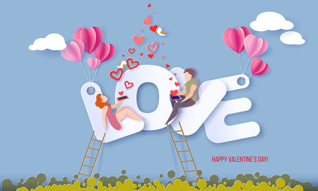 Valentines day card with couple sitting on big letters LOVE and sending red hearts with their smartphones on blue sky background. Vector paper art illustration. Paper cut and craft style. Çizim