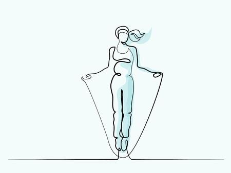 Ciągła linia o różnych szerokościach rysowania. Szczęśliwa kobieta skoki. Ilustracja wektorowa