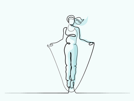Continuous Line of various widths drawing. Happy jumping woman. Vector illustration