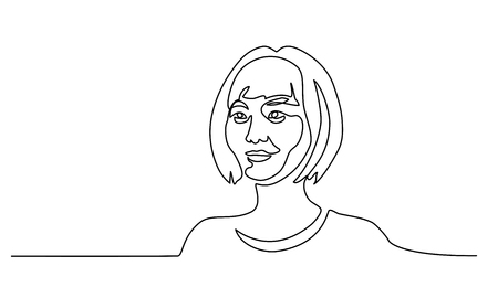 Continuous one line drawing. Abstract portrait of pretty young woman of Chinese nationality. Vector illustration