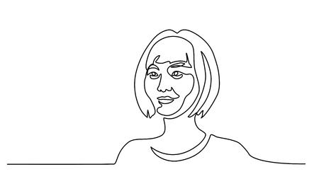 Dessin continu d'une ligne. Portrait abstrait d'une jolie jeune femme de nationalité chinoise. Illustration vectorielle