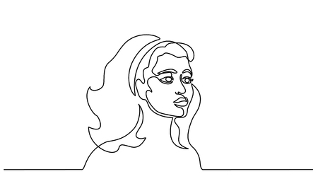 Continuous one line drawing. Abstract portrait of pretty young french woman European ethnicitiy. Vector illustration
