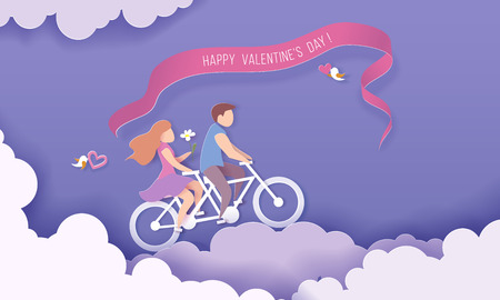 Valentines day card with couple riding bicycle over clouds on purple sky background. Vector paper art illustration. Paper cut and craft style.