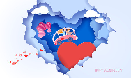 Valentines day card with couple driving pink bus with air balloons over big red heart on blue sky background with clouds heart shaped . Vector paper art illustration. Paper cut and craft style.