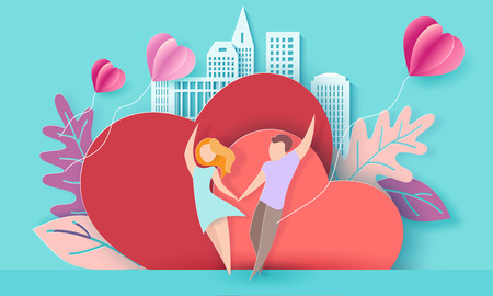Valentines day card with couple holding hands in love and running on red hearts background with modern sity and air balloons. Vector paper art illustration. Paper cut and craft style. Illustration