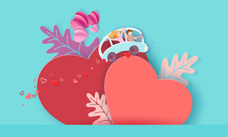 Valentines day card with couple driving blue bus with air balloons over big red heart on blue background. Vector paper art illustration. Paper cut and craft style. Illustration