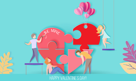 Valentines day card with small people build a big heart puzzle. Vector paper art illustration. Paper cut and craft style.