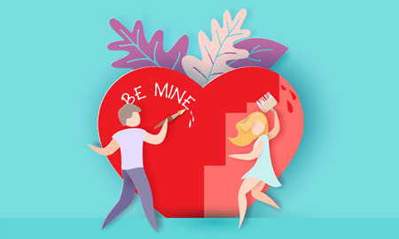 Valentines day card with couple painting big red heart on blue background. Vector paper art illustration. Paper cut and craft style.