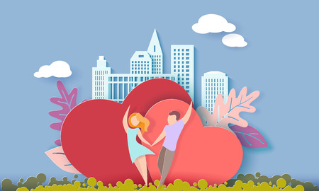 Valentine s day card with couple holding hands in love and running on red hearts background with modern sity and air balloons. Vector paper art illustration. Paper cut and craft style.