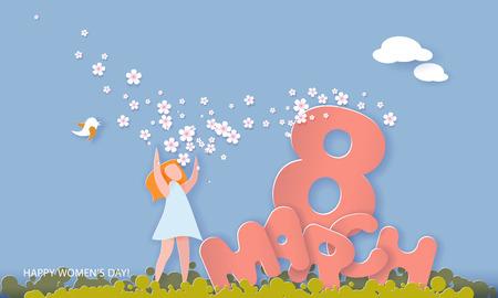 Glückliche Frauentageskarte vom 8. März. Frau mit Blumen in der Nähe von großen Buchstaben 8. März auf blauem Hintergrund. Vektorpapierillustration