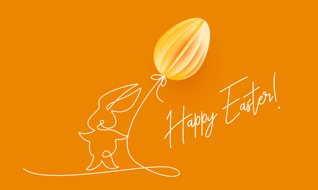 Happy Easter. Cute rabbit with air balloon shaped as egg. Vector paper desing illustration. Continuous one line style. Иллюстрация