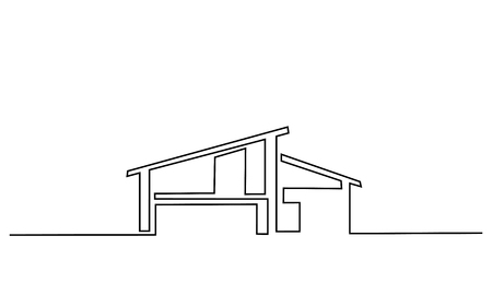 Continuous one line drawing. Modern house, building, residential building concept, logo, symbol, construction Vector illustration