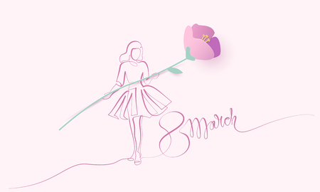 Happy 8 March womens day card. Continuous one line drawing. Girl in festive dress with paper flower. Vector illustration