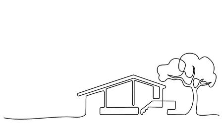 Disegno continuo a una linea. Casa moderna con albero, edificio, concetto di edificio residenziale, logo, simbolo, costruzione Illustrazione vettoriale