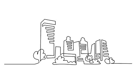Continuous one line drawing. Building Cityscape Line Art Silhouette. Vector illustration Vettoriali