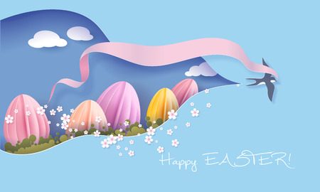 Happy Easter Spring illustration. Paper cut bird swallow flying with ribbon bow cutout sky for spring landscape with big Easter egg. Vector Illustration