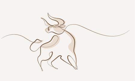 Estilo de dibujo continuo de una línea. Icono de vaca toro. Ilustración vectorial.