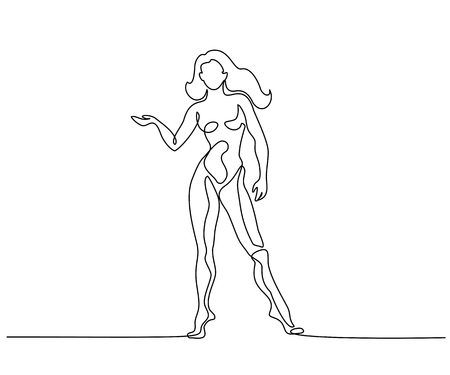 Continuous one line drawing. Woman naked standing . Vector illustration