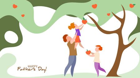 Vater hebt seine Tochter zum Apfelpflücken hoch. Glückliche Vatertagskarte. Flacher Stil. Vektor-Illustration